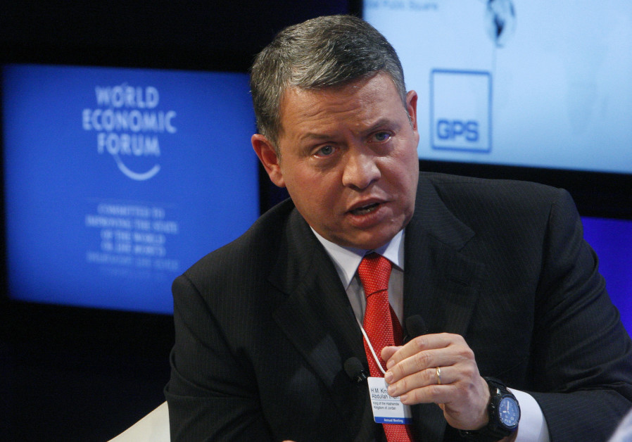 Jordan's King Abdullah speaks during a session at the World Economic Forum in Davos, Switzerland