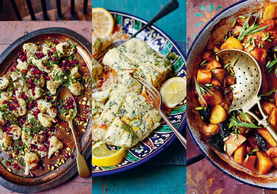 Roasted cauliflower, fish and saffron pilaf and chicken hotpot