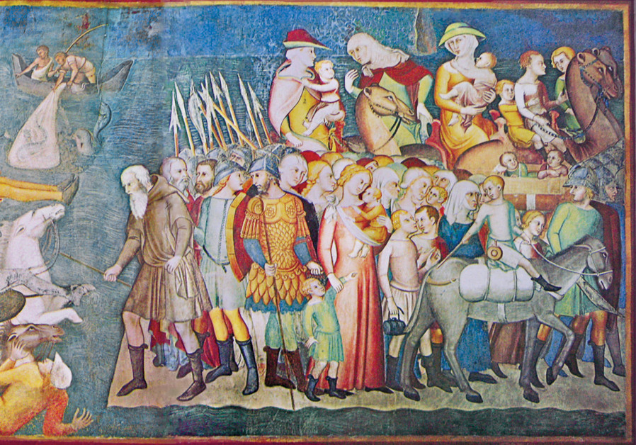 A WORK from 1356 by Bartolo di Fredi depicts the Israelites safely on the shore of the Red Sea, whil