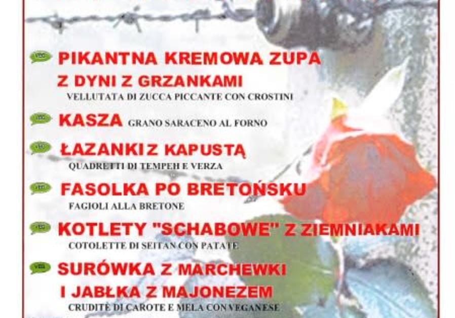 Centro Natura's Polish theme menu for Holocaust Memorial Day. (Screenshot)