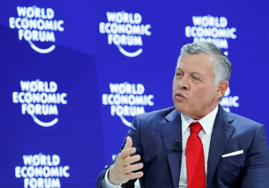 Jordan's King Abdullah speaks at the World Economic Forum in Davos, Switzerland