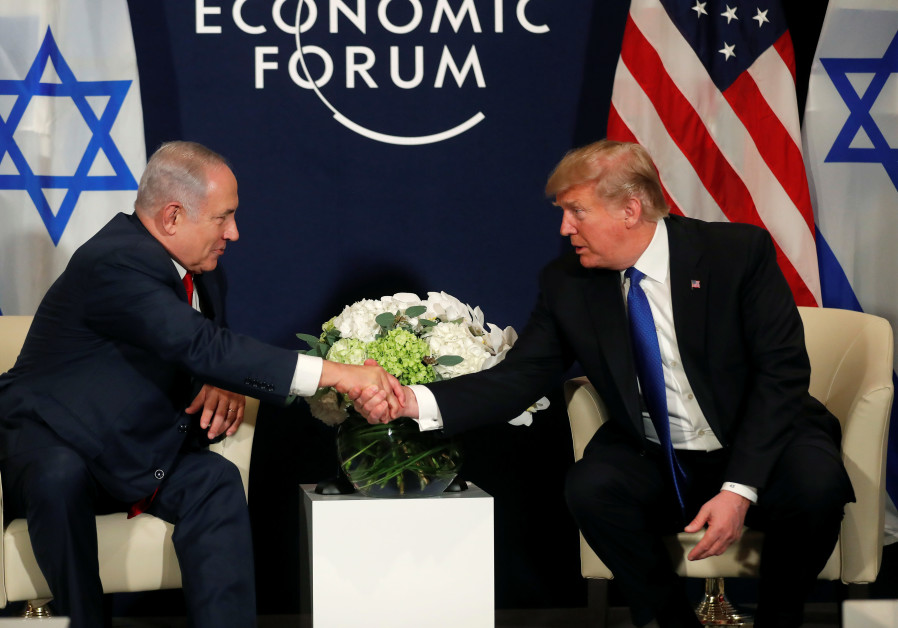 US President Donald Trump and Israeli Prime Minister Benjamin Netanyahu meet in Davos Switzerland