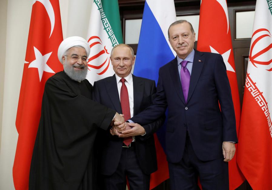 Iran's President Hassan Rouhani, Russia's Vladimir Putin and Turkey's Tayyip Erdogan meet in Sochi,