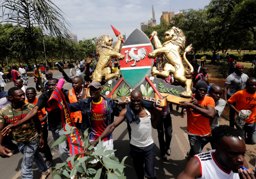 Supporters of Kenyan opposition leader Raila Odinga of the National Super Alliance