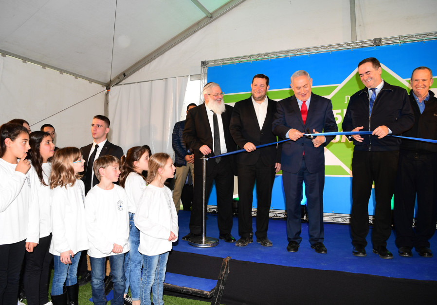 Prime Minister Benjamin Netanyahu at the ribbon cutting ceremony for Highway 55 on January 30, 2018.