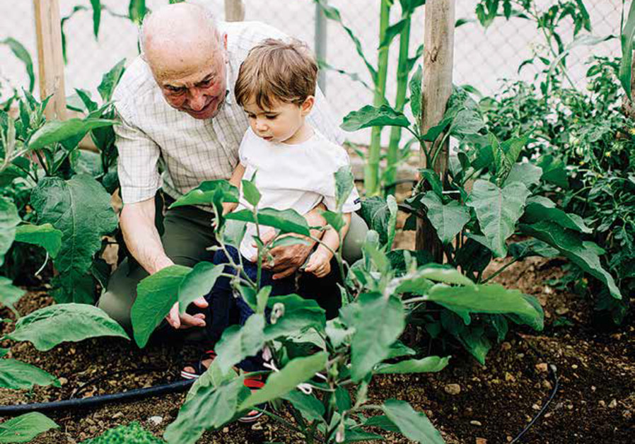A man and his grandson visit a JNF nursery in Israel.