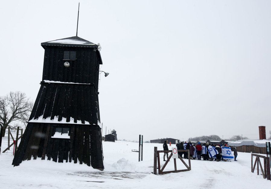 Majdanek concentration camp in Poland in the snow