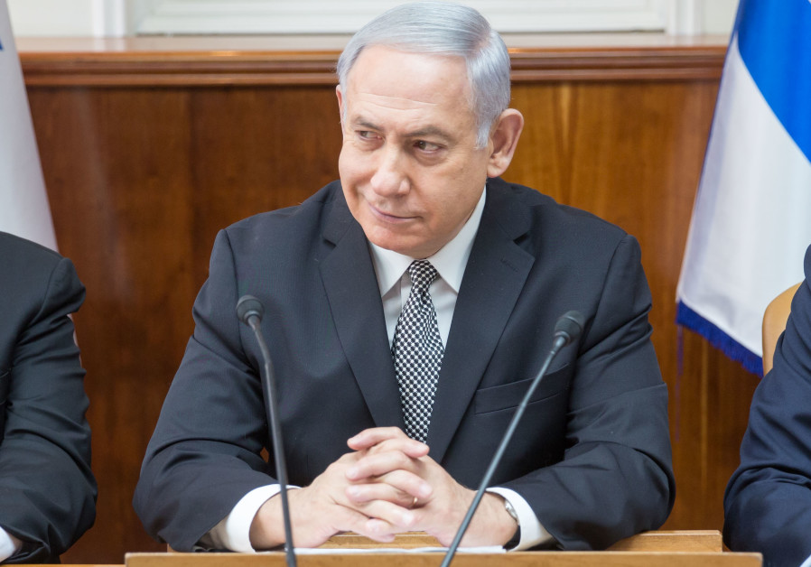 Prime Minister Benjamin Netanyahu at a weekly cabinet meeting on February 4, 2018.
