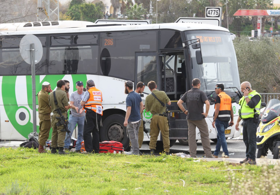 The scene after a stabbing attack outside the West Bank settlement of Ariel on February 5, 2018.