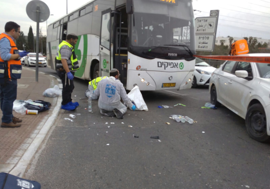 Scene of West Bank stabbing attack, February 5, 2018.