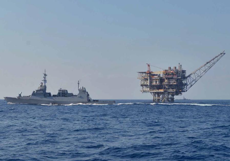 Israeli's Navy patrols the sea near a natural gas rig