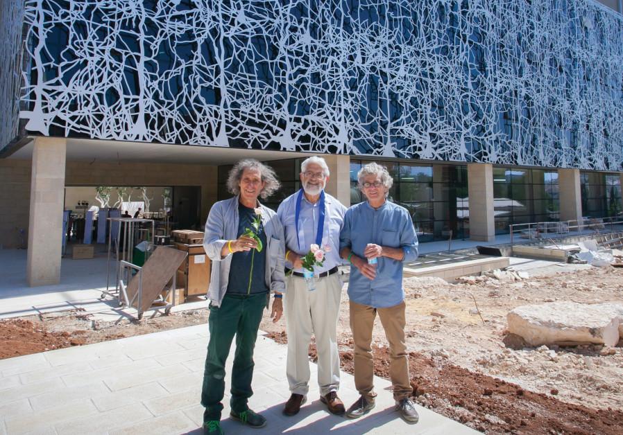 (From left to right) Prof. Idan Segev, Prof. Haim Sompolinsky and Prof. Eilon Vaadia outside the new