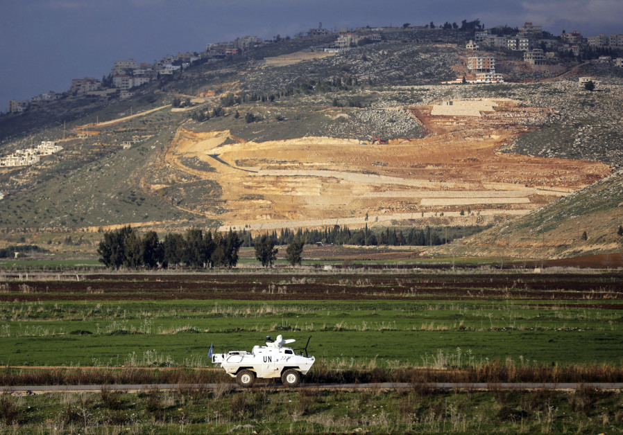 peacekeepers patrol along the Israel-Lebanon border near the northern Israeli town of Metula