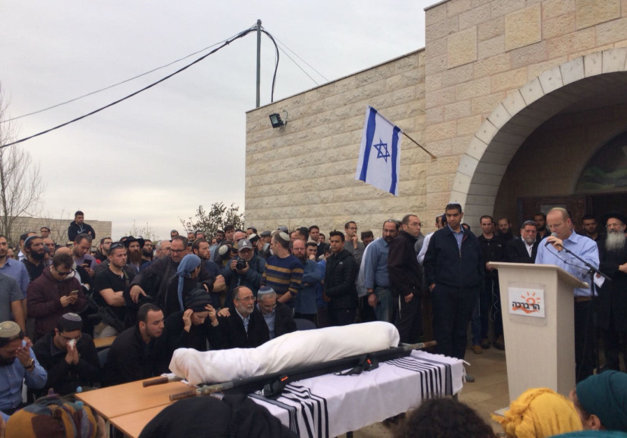 Funeral ceremony for Rabbi Itamar Ben-Gal in the West Bank settlement of Har Bracha on February 6.