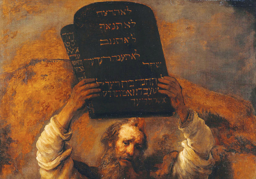 MOSES WITH the Ten Commandments is depicted in this 1659 painting by Rembrandt
