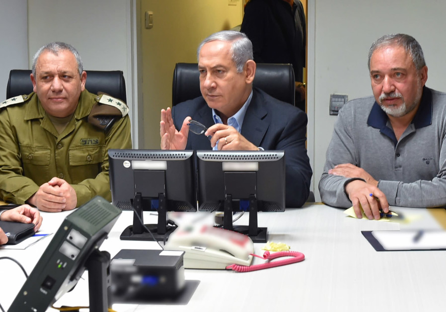 IDF Chief of Staff Gadi Eisenkot, Prime Minister Benjamin Netanyahu and Defense Minister Avigdor Lib