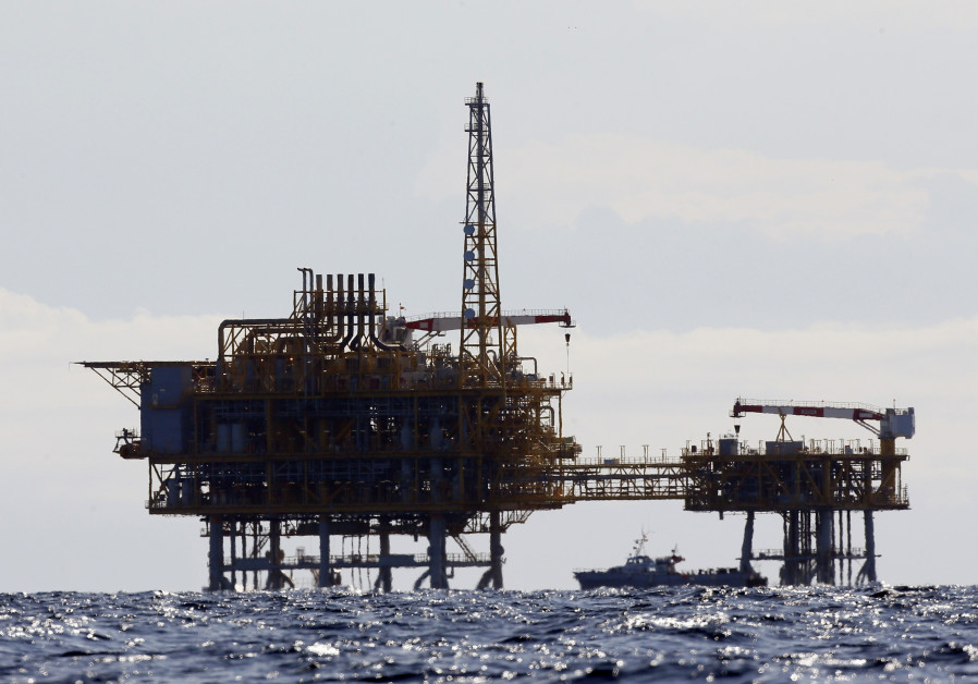 An offshore natural gas rig in the Mediterranean Sea