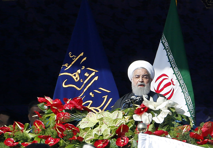 Iranian President Hassan Rouhani delivers a speech at the Azadi Square in the capital Tehran