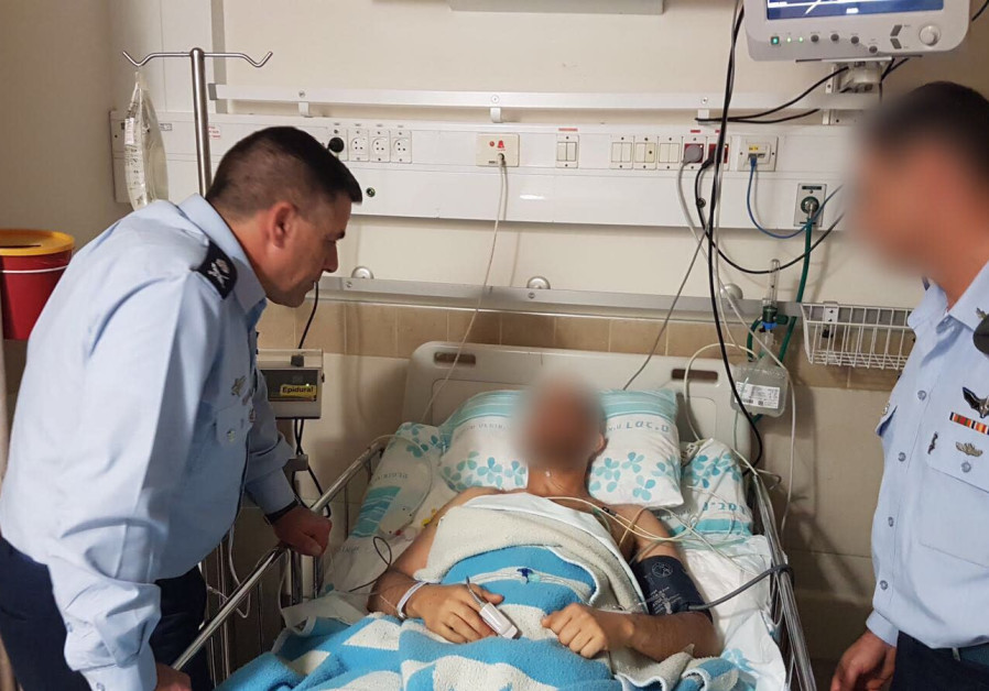 Maj. Gen. Amikam Norkin visits the wounded pilot on February 11th, 2018.
