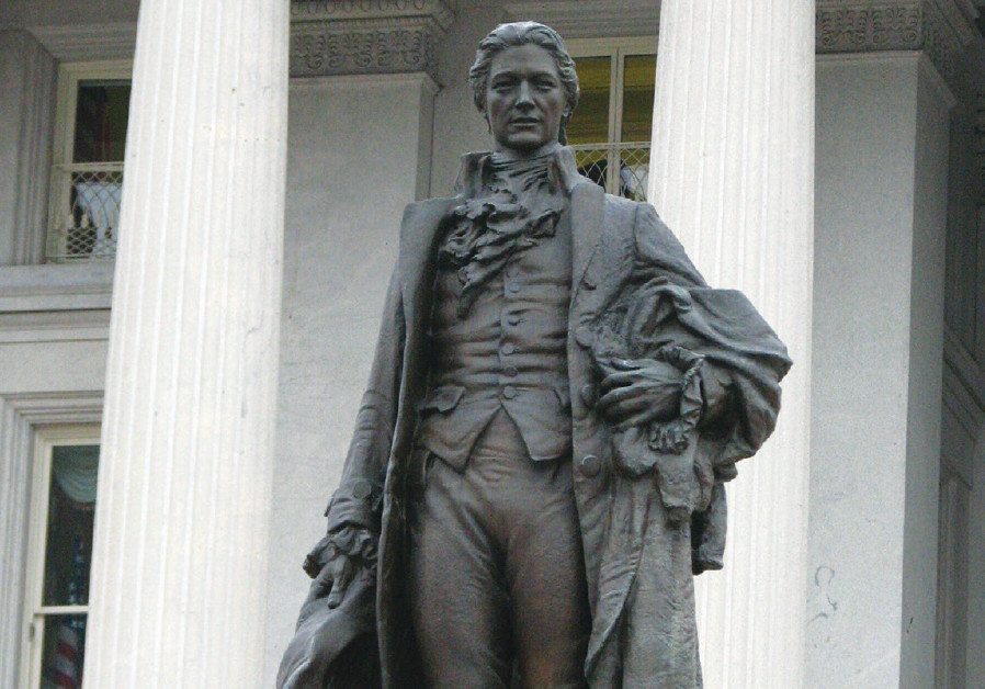 Statue of the Founding Father at the US Treasury in Washington