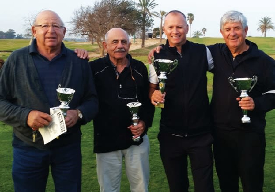 THE WINNING groups at the open-house tournament at Ga'ash (from left) Brian Galgut, Dave Haskell, Ga