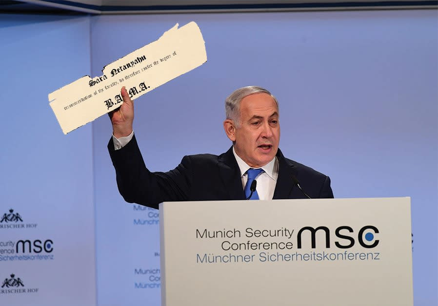 An edited photograph of Prime Minister Benjamin Netanyahu at the Munich Security Conference