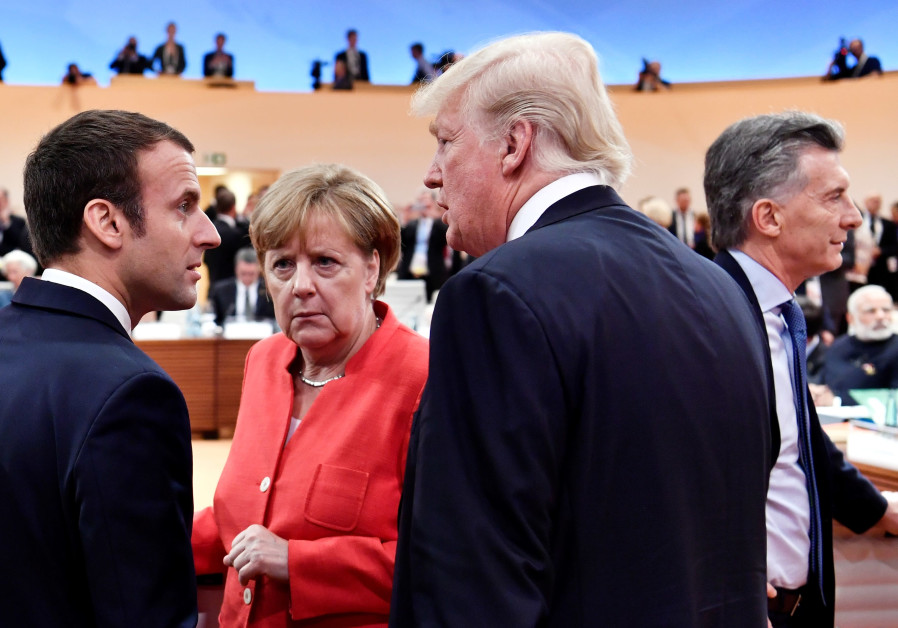 US President Donald Trump, German Chancellor Angela Merkel and French President Emmanuel Macron at t