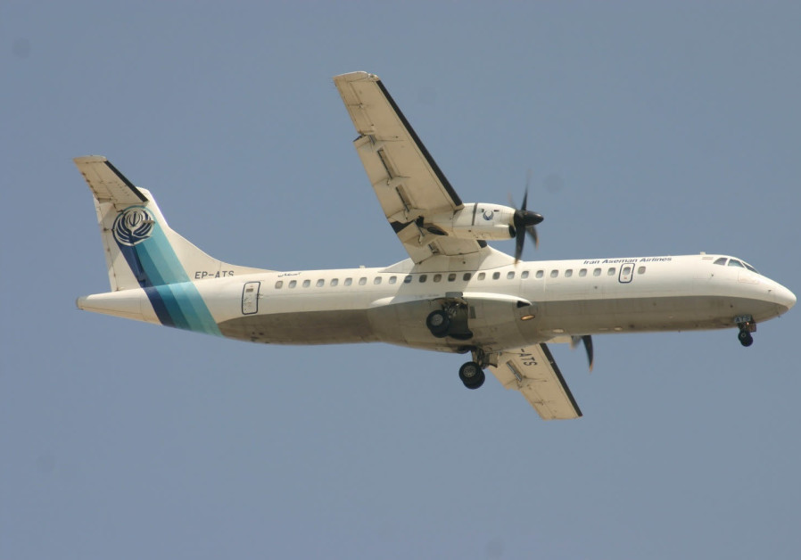 A twin-engined turboprop ATR-72 Aseman Airlines plane, that crashed in central Iran is seen in Dubai