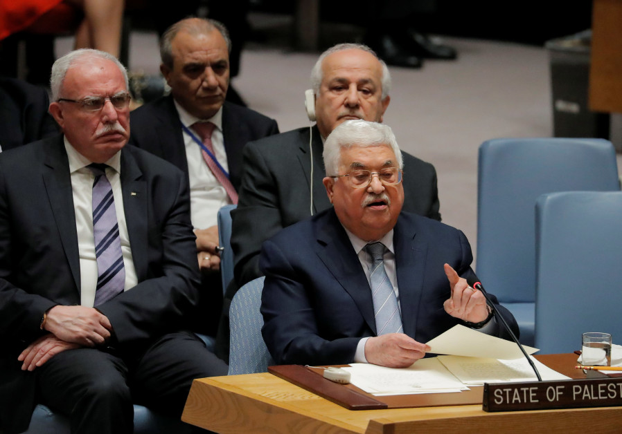 Palestinian Authority President Mahmoud Abbas speaks at the United Nations, February 2018. (Credit: Lucas Jackson/Reuters)