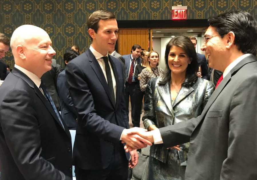 Danny Danon, Jared Kushner, Jason Greenblatt and Nikki Haley