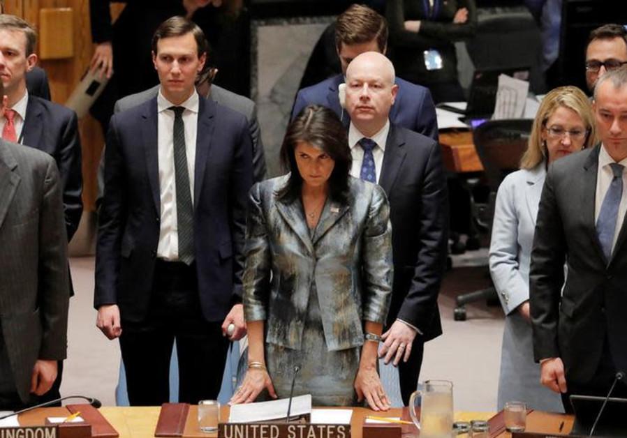 U.S. Nikki Haley (C), Jared Kushner (L) and Jason Greenblatt (R)