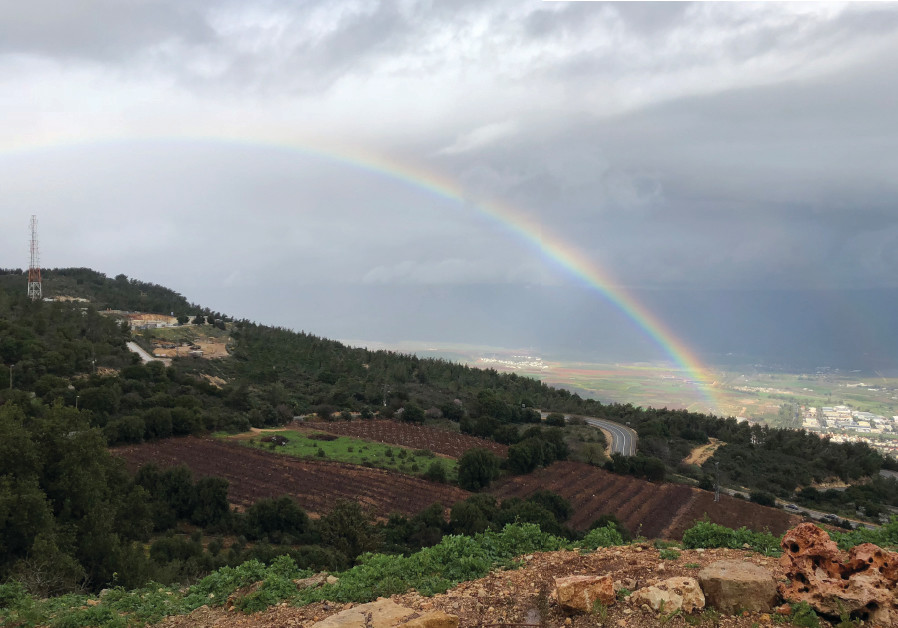 A RAINBOW stretches over Kibbutz Misgav Am in the Upper Galilee