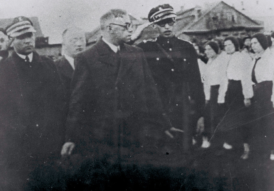 VLADIMIR JABOTINSKY (center left) visits Pinsk, Poland, in 1933 with Menachem Begin (right)