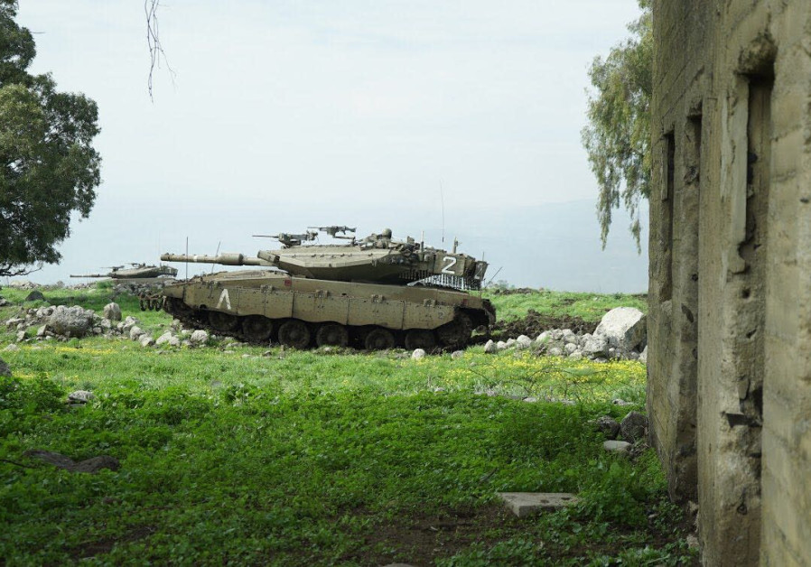 An Israeli tank during an exercise near the northern border on February 22, 2018.