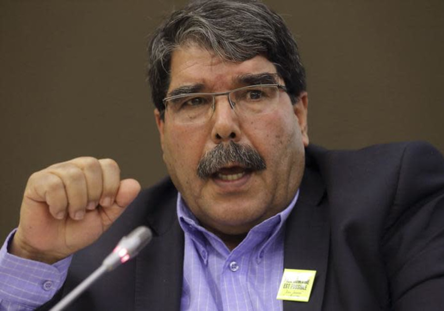 Kurdish Democratic Union Party (PYD) head Saleh Muslim speaks during a conference in Paris.