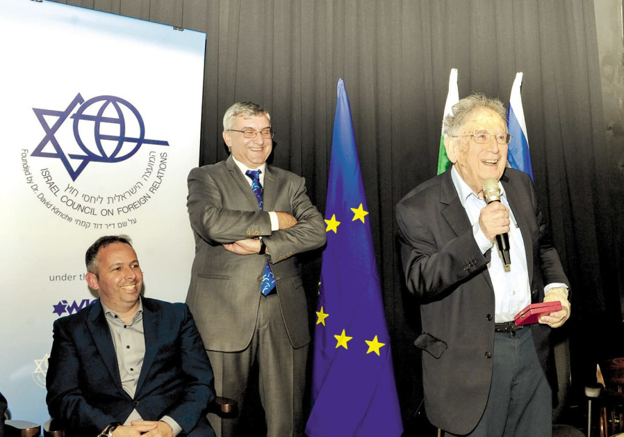 Prof. Yehuda Bauer speaks after being awarded the Nahum Goldmann Medal in Tel Aviv