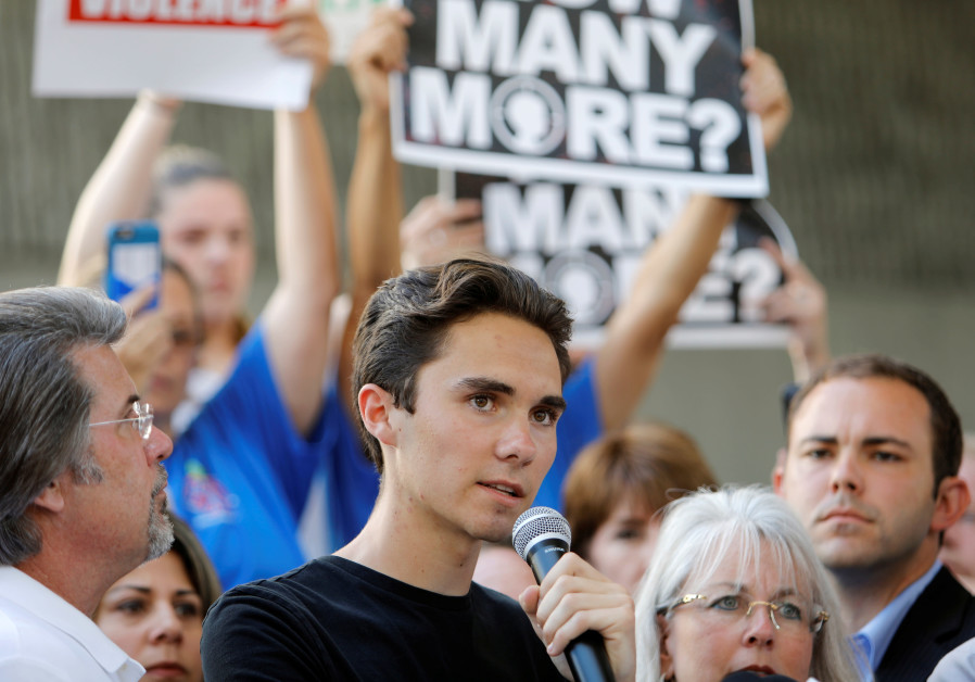David Hogg speaks at a rally calling for gun cont