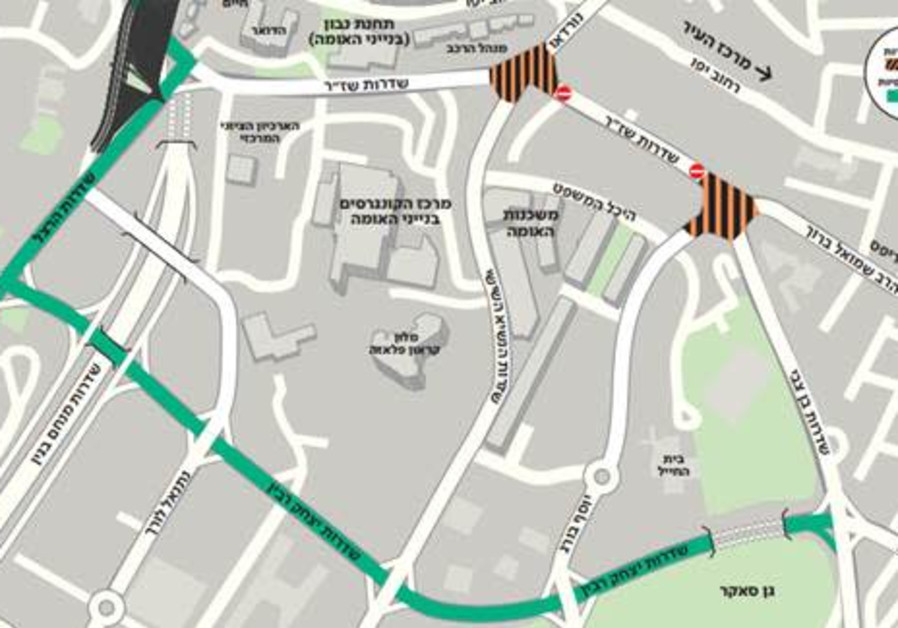 A map of planned closures on Shazar Boulevard in Jerusalem. (Credit: Courtesy)