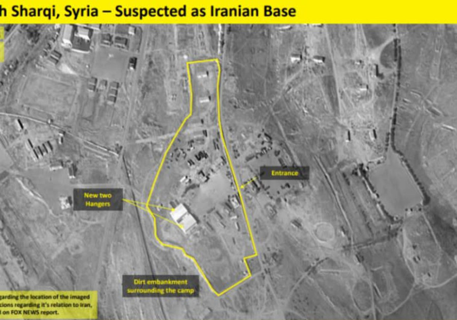 A satellite image claiming to show a n Iranian military base outside Damascus