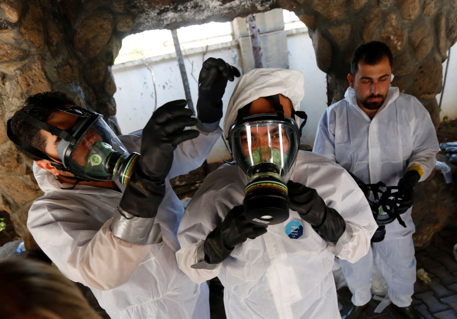 Syrian medical staff take part in training exercise to learn how to treat victims of chemical weapon