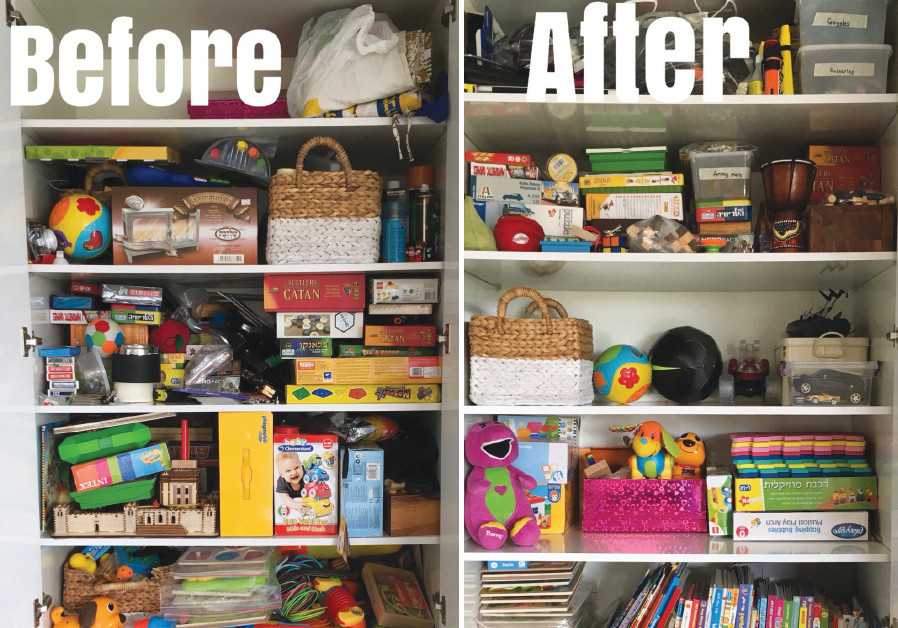 A closet before and after it was organized