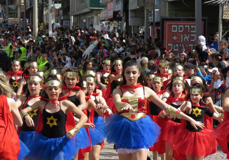 The 'Adloyada' parade in the city of Holon.