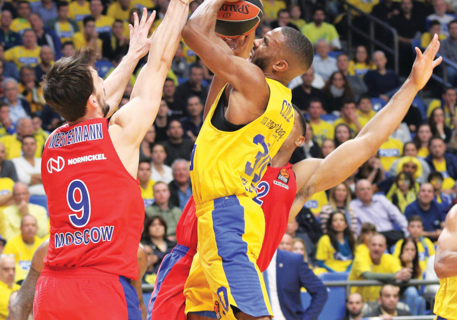 Maccabi Tel Aviv guard Norris Cole (with ball) couldn't find a way through CSKA Moscow's defense