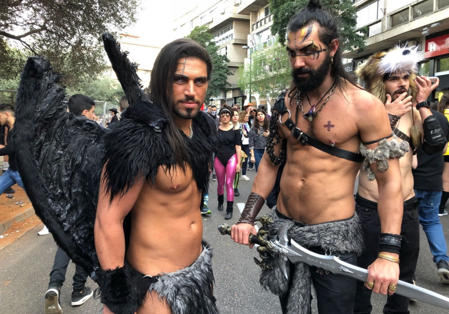 Israelis Sasi Levi (L) and Guy Shmuel (R) dressed up for Purim, February 2018.