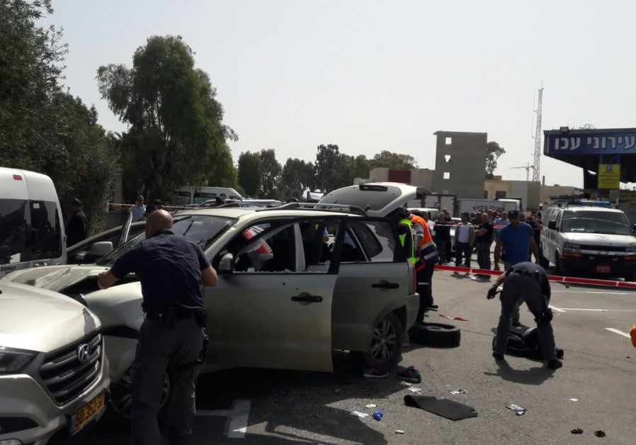 The site of a suspected ramming attack in Israel's northern city of Acre.