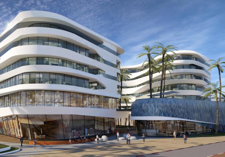 A mockup of the future Herzliya Marina hotel project. (photo courtesy Viewpoint)