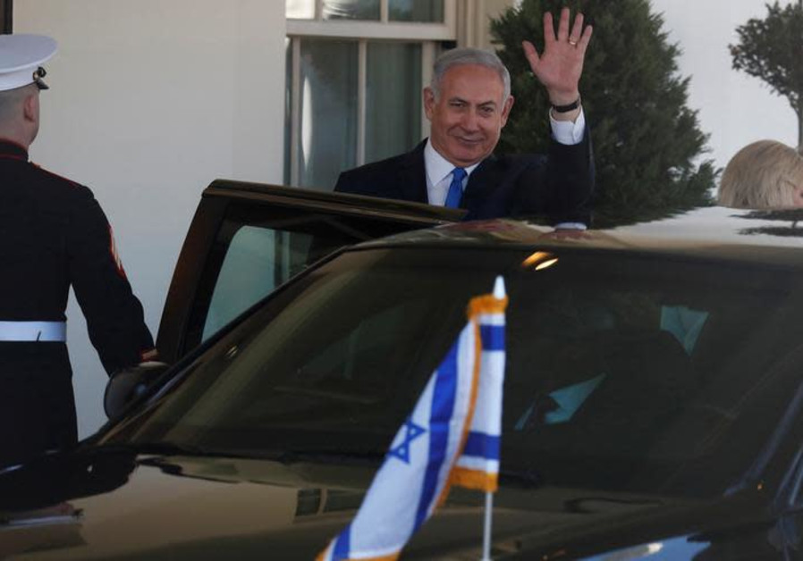 Israeli Prime Minister Benjamin Netanyahu departs the White House after a meeting