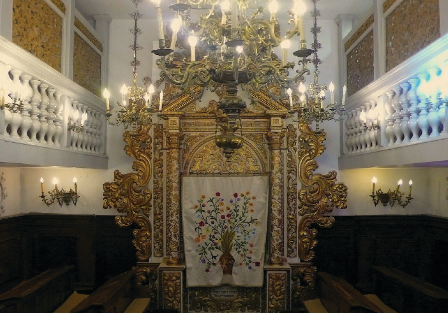 The interior of the Italian Synagogue