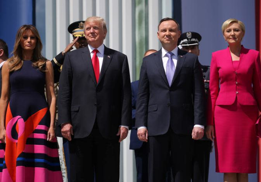 S. President Donald Trump, Melania Trump, Andrzej Duda and Agata Kornhauser-Duda.