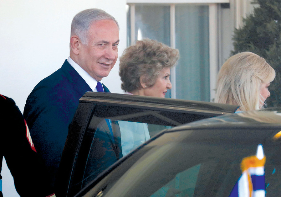 PRIME MINISTER Benjamin Netanyahu and his wife, Sara, (right) depart from the White House